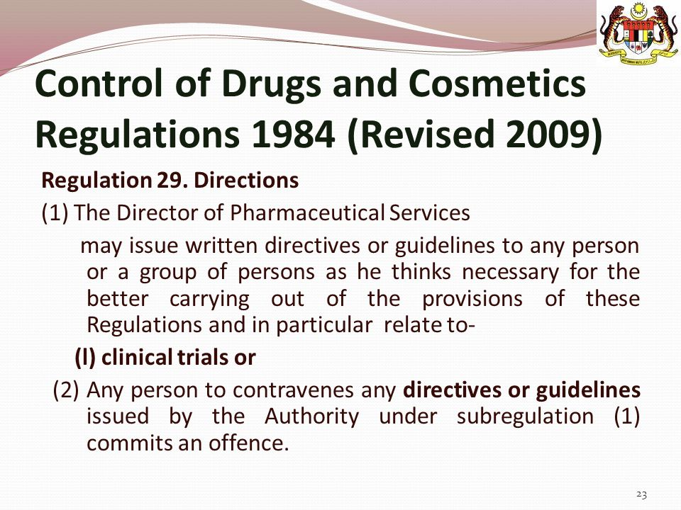 Control of Drugs and Cosmetics Regulations 1984 (Revised 2009)
