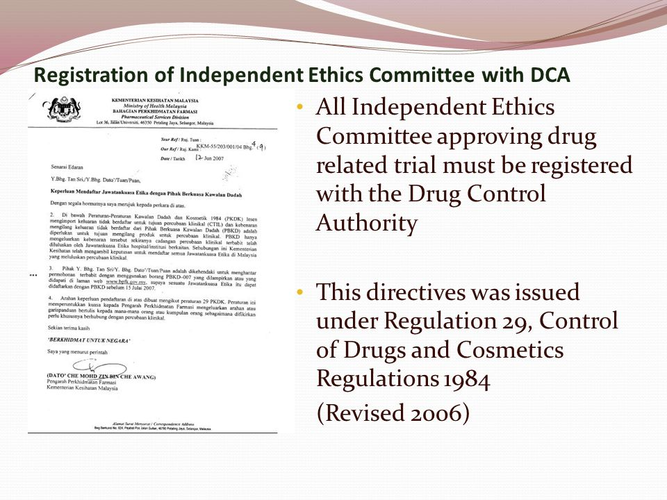 Registration of Independent Ethics Committee with DCA