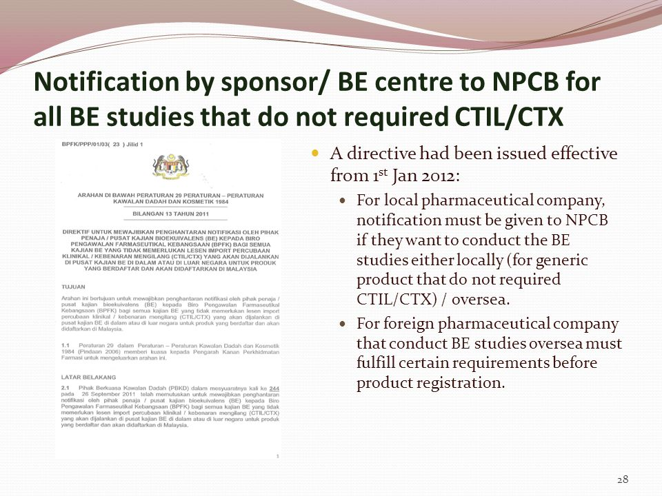 Notification by sponsor/ BE centre to NPCB for all BE studies that do not required CTIL/CTX