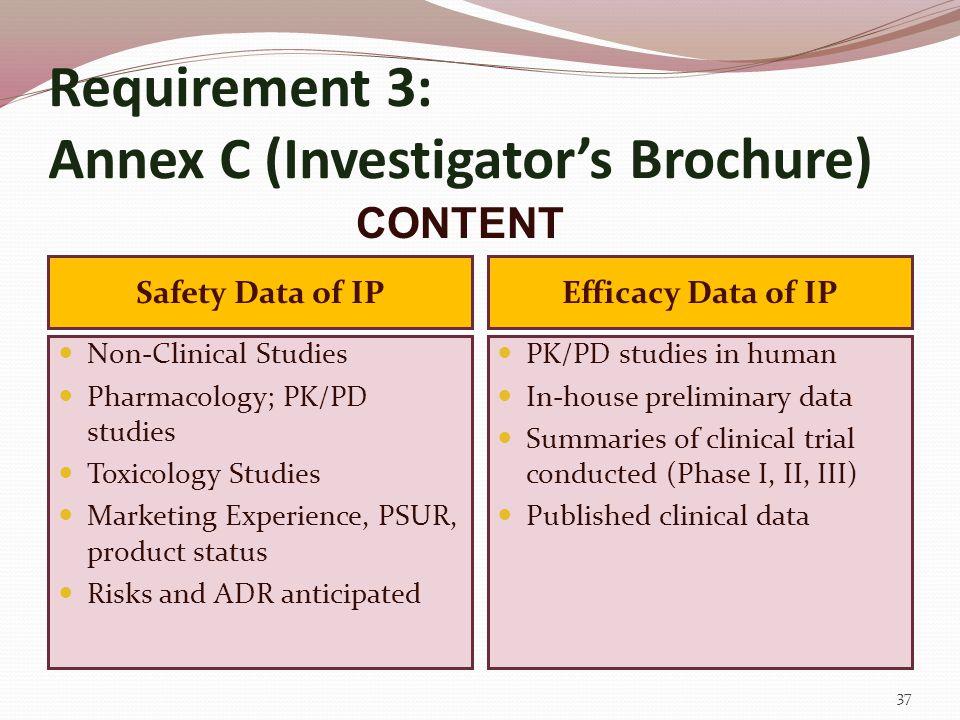 Requirement 3: Annex C (Investigator's Brochure)