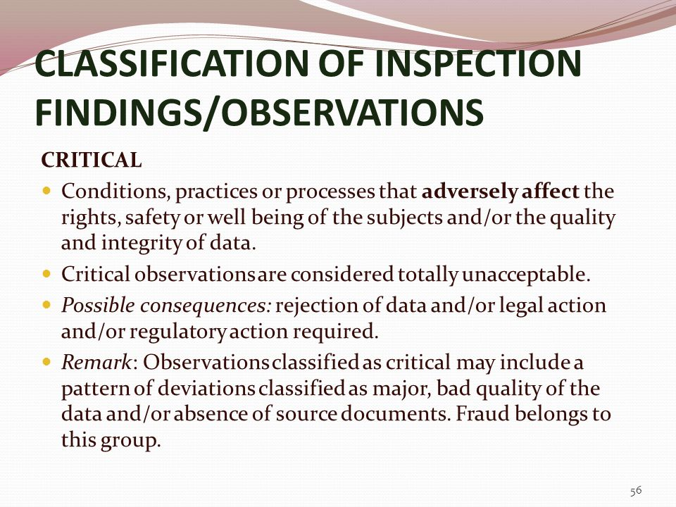 CLASSIFICATION OF INSPECTION FINDINGS/OBSERVATIONS