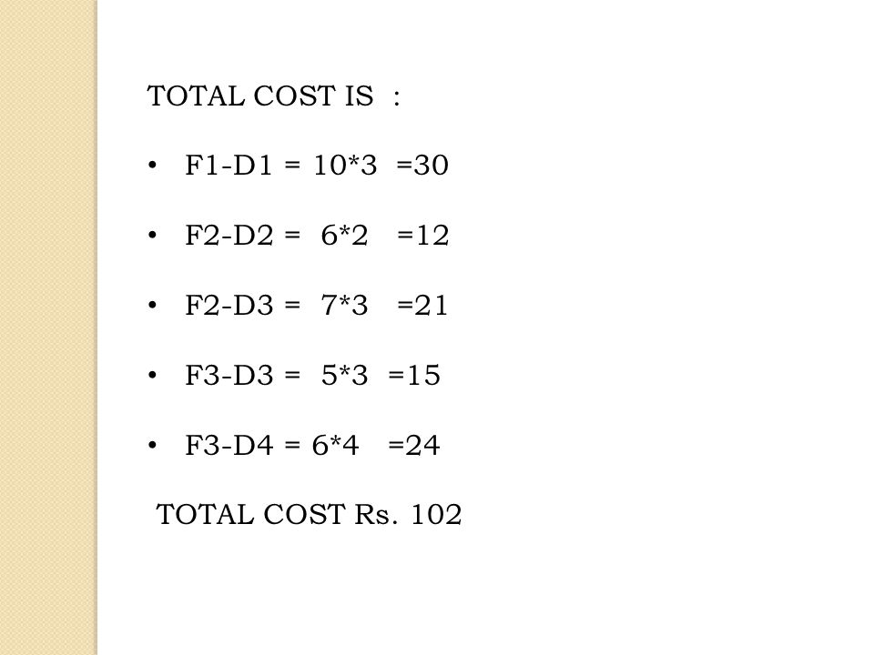 TOTAL COST IS : F1-D1 = 10*3 =30. F2-D2 = 6*2 =12. F2-D3 = 7*3 =21. F3-D3 = 5*3 =15. F3-D4 = 6*4 =24.