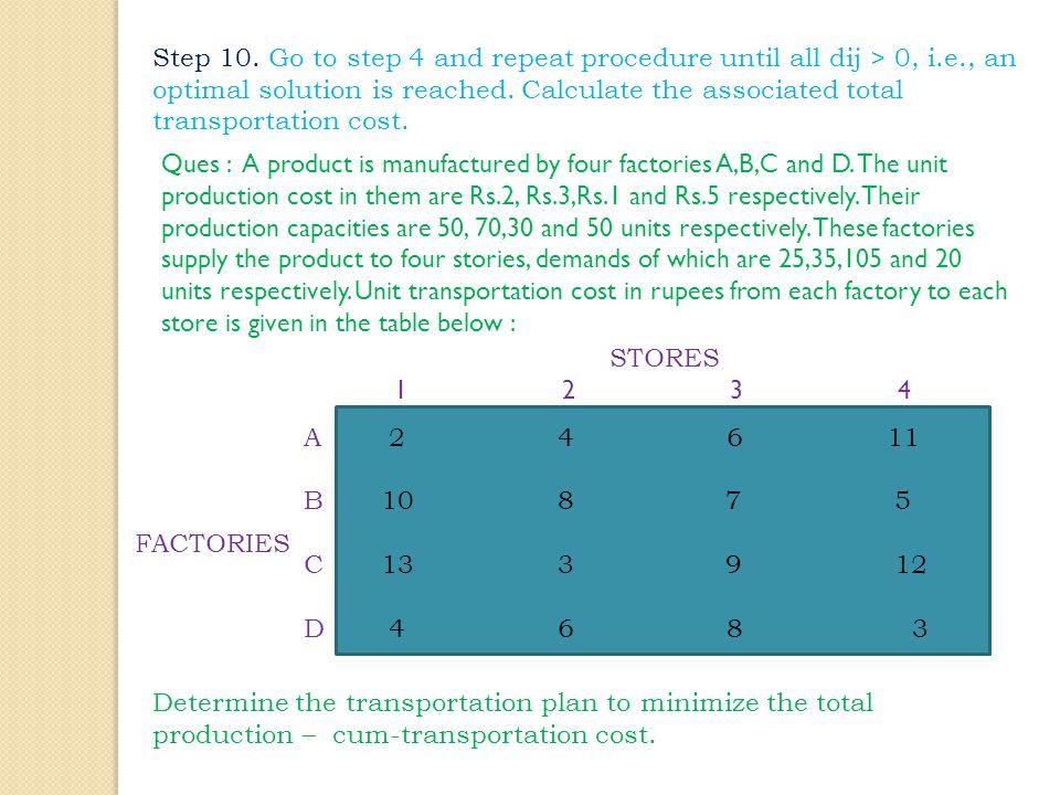 Step 10. Go to step 4 and repeat procedure until all dij > 0, i. e
