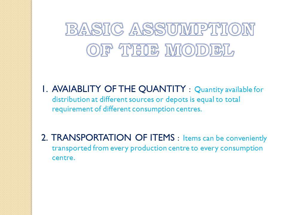 BASIC ASSUMPTION OF THE MODEL