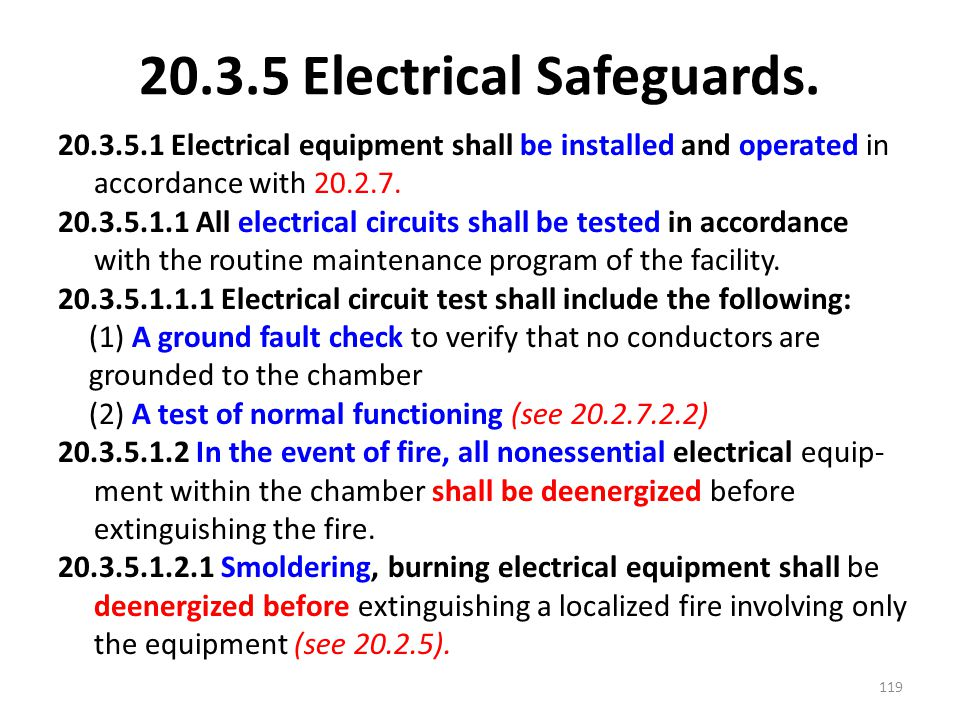 20.3.5 Electrical Safeguards.