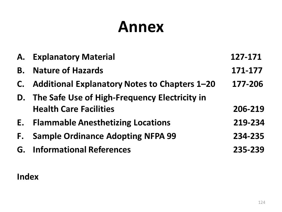Annex Explanatory Material 127-171 Nature of Hazards 171-177