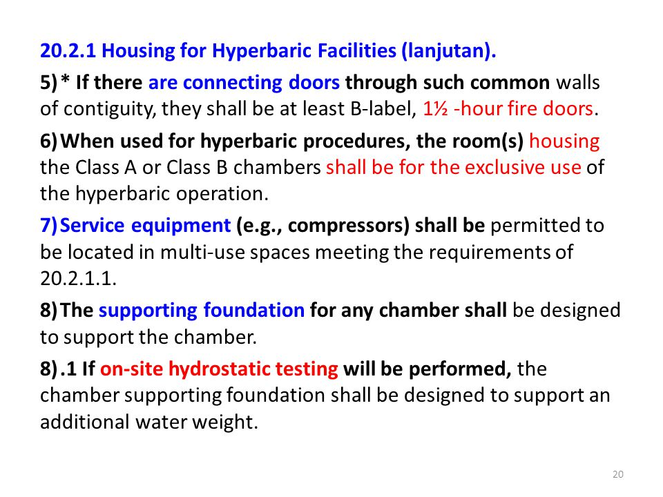 20.2.1 Housing for Hyperbaric Facilities (lanjutan).