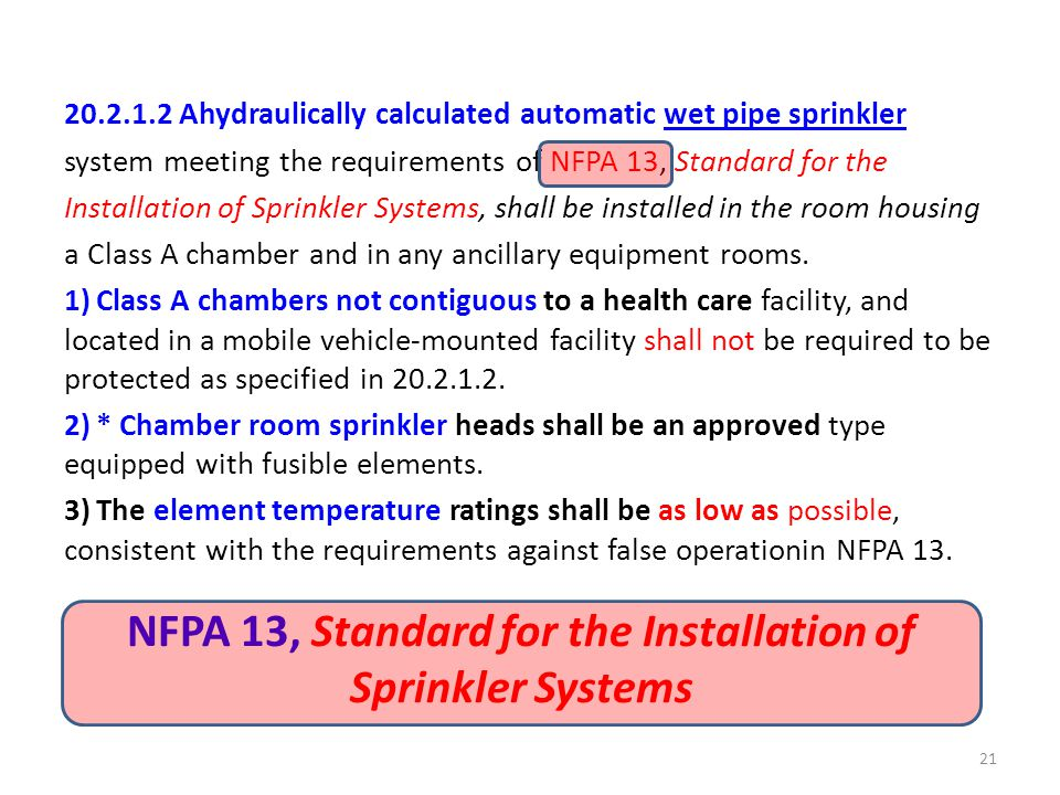 NFPA 13, Standard for the Installation of Sprinkler Systems