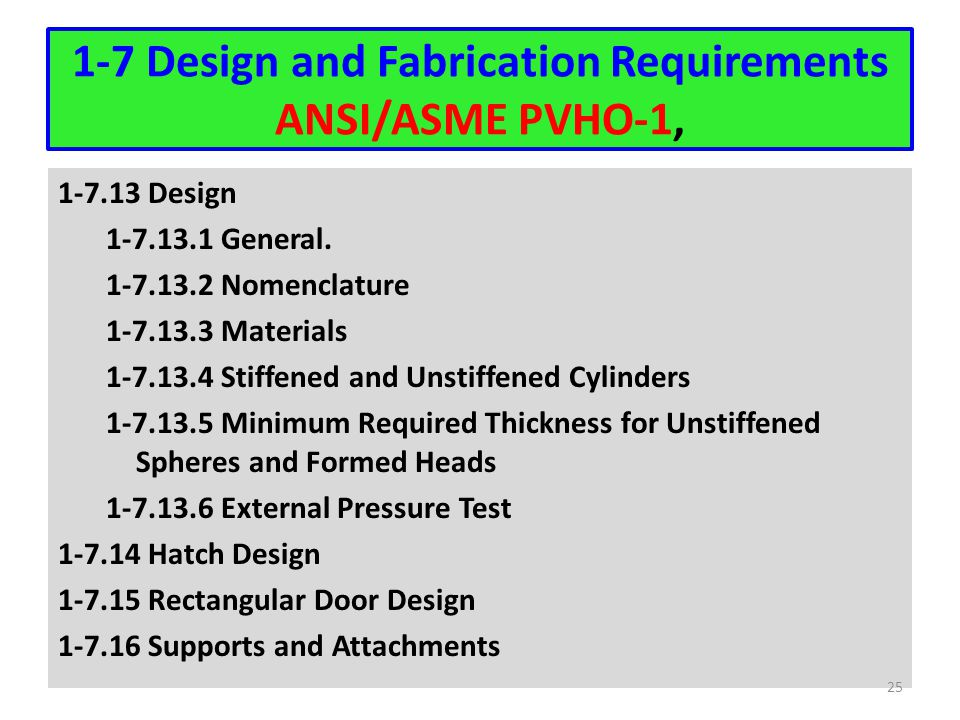 1-7 Design and Fabrication Requirements ANSI/ASME PVHO-1,