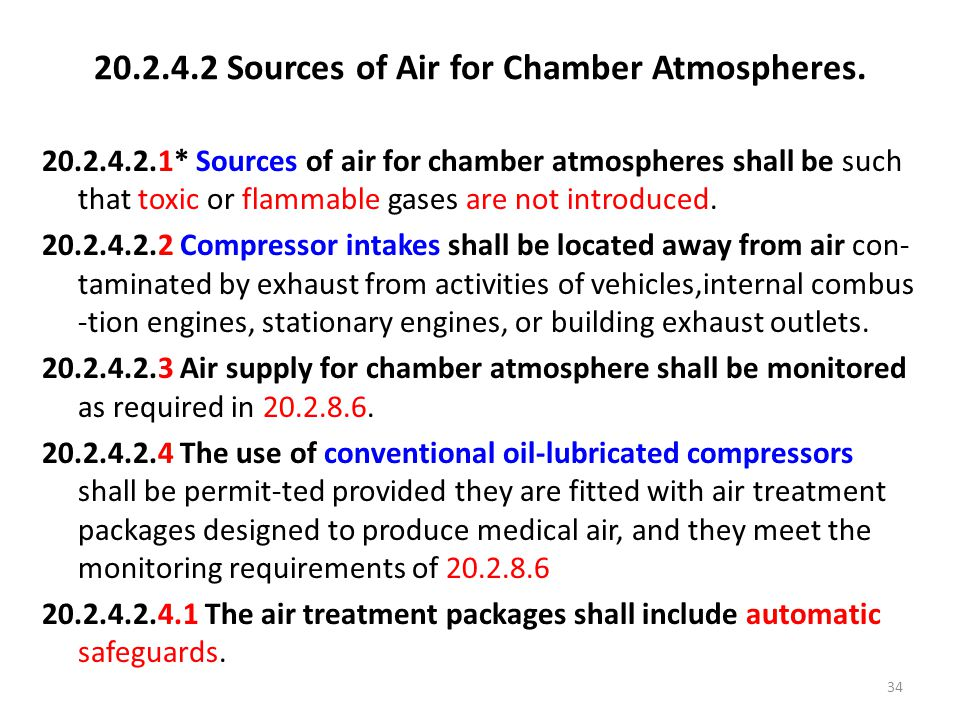 20.2.4.2 Sources of Air for Chamber Atmospheres.