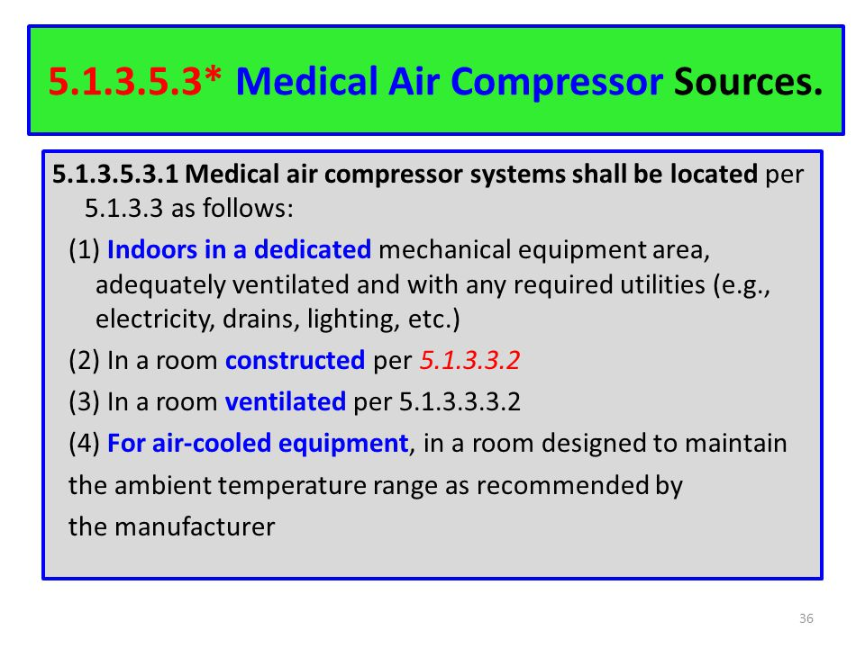 * Medical Air Compressor Sources.
