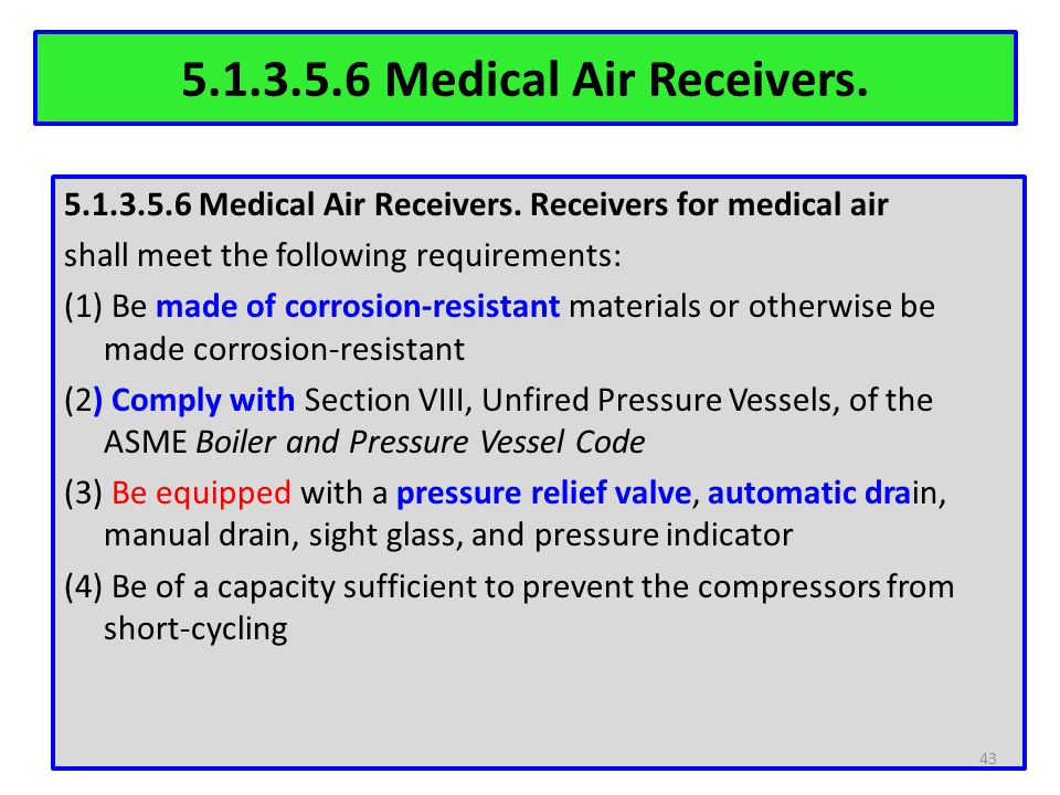 5.1.3.5.6 Medical Air Receivers.