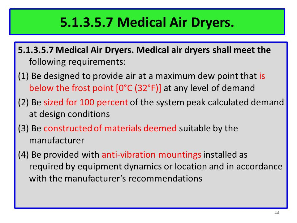 5.1.3.5.7 Medical Air Dryers.