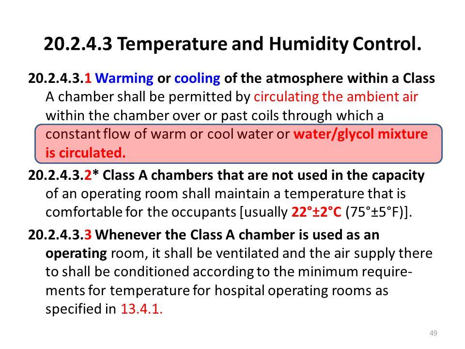 Temperature and Humidity Control.