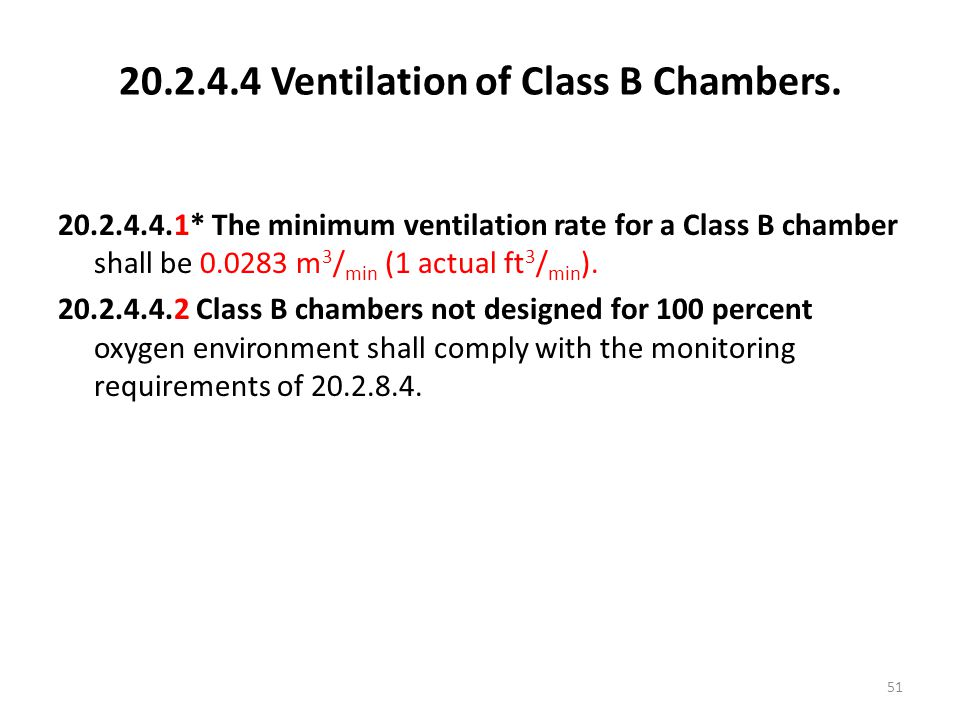 20.2.4.4 Ventilation of Class B Chambers.
