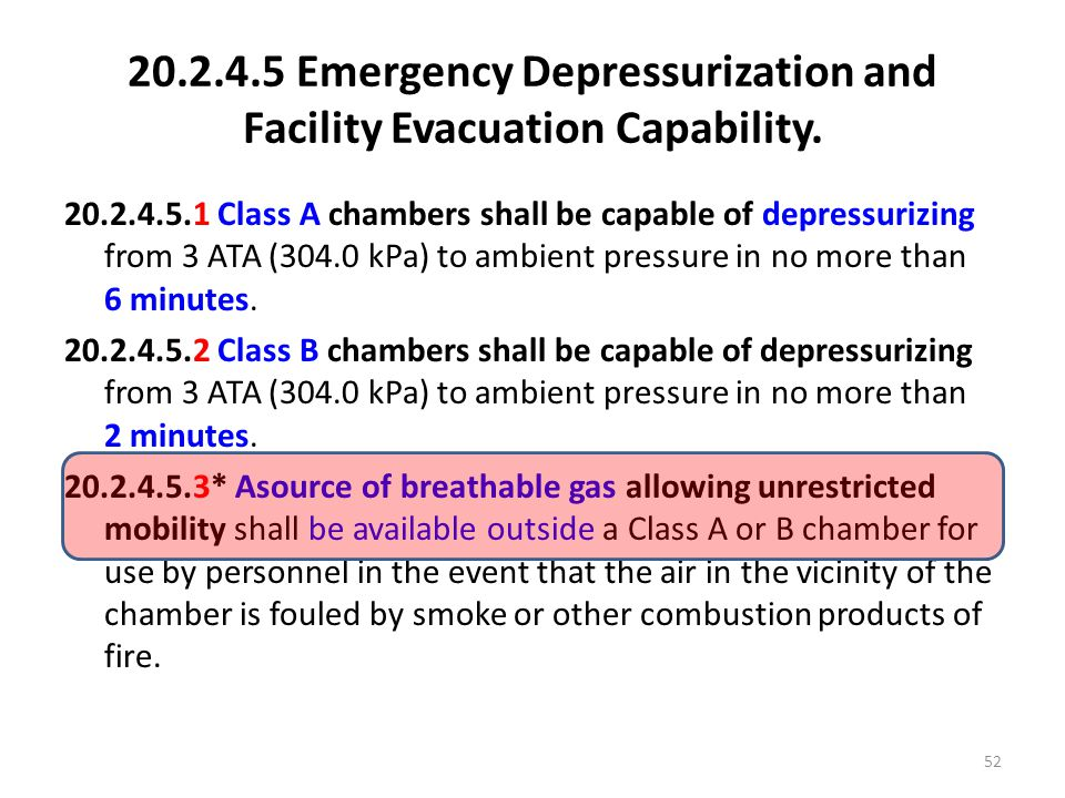 20.2.4.5 Emergency Depressurization and Facility Evacuation Capability.