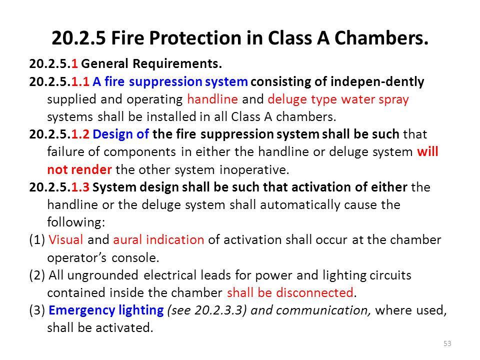 20.2.5 Fire Protection in Class A Chambers.