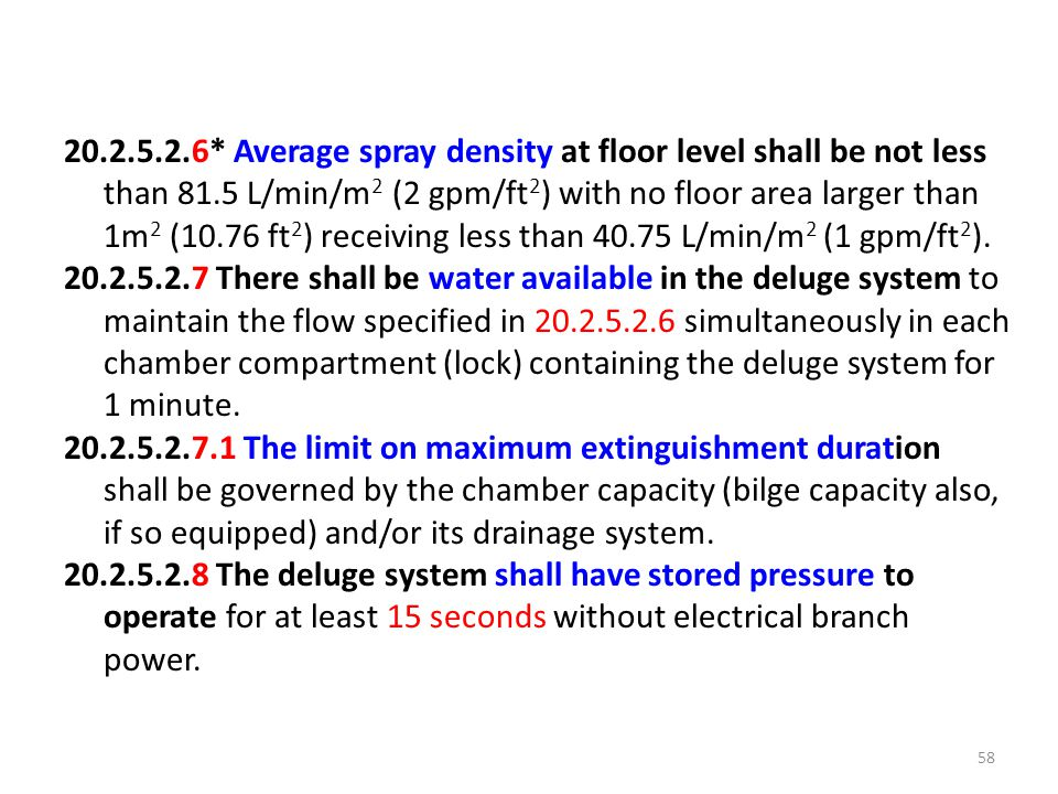 20.2.5.2.6* Average spray density at floor level shall be not less than 81.5 L/min/m2 (2 gpm/ft2) with no floor area larger than 1m2 (10.76 ft2) receiving less than 40.75 L/min/m2 (1 gpm/ft2).