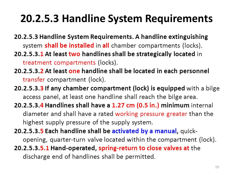 20.2.5.3 Handline System Requirements
