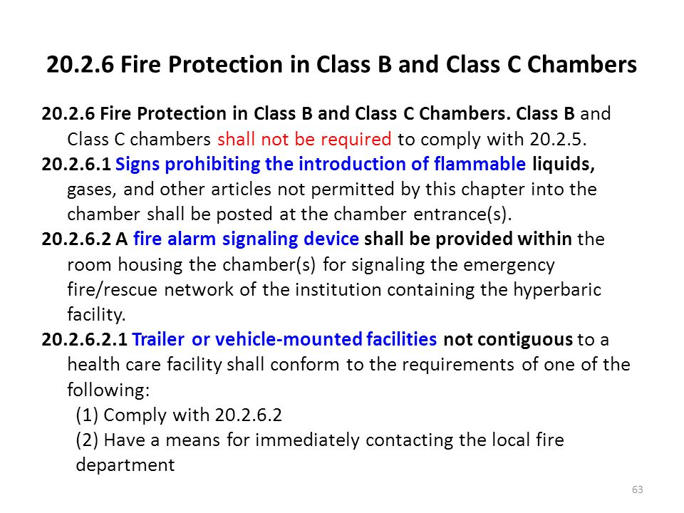 20.2.6 Fire Protection in Class B and Class C Chambers