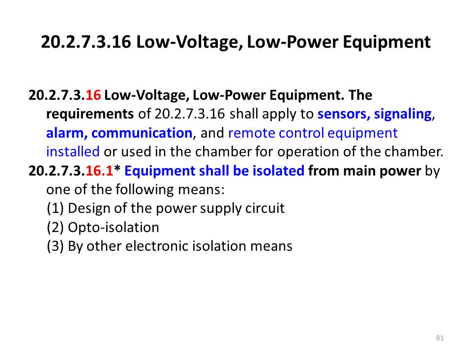 Low-Voltage, Low-Power Equipment