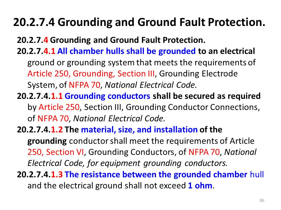 20.2.7.4 Grounding and Ground Fault Protection.
