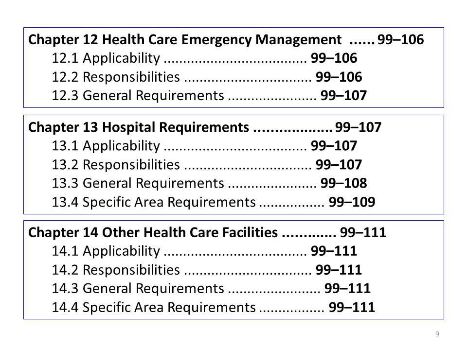 Chapter 12 Health Care Emergency Management ...... 99–106
