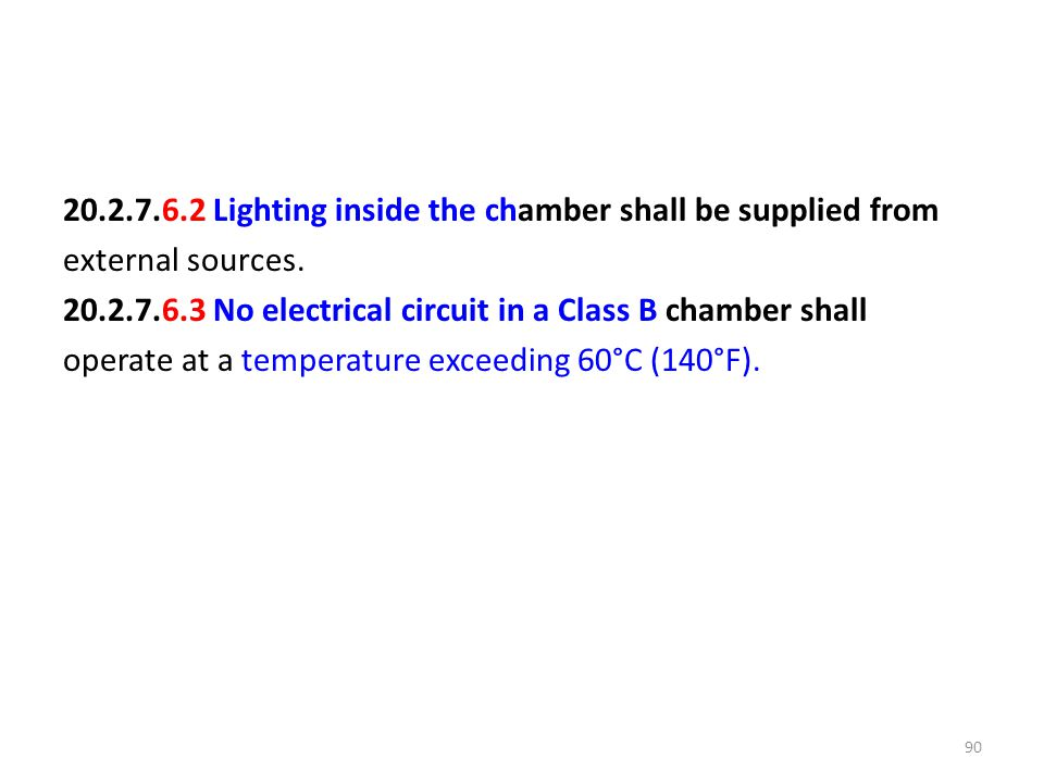 20.2.7.6.2 Lighting inside the chamber shall be supplied from external sources.