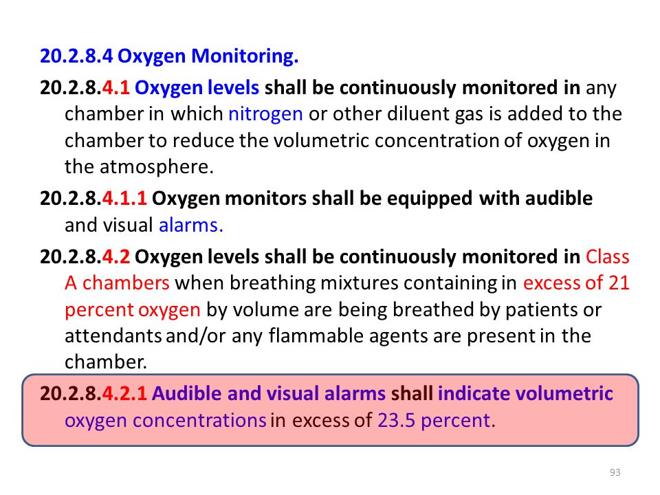 20.2.8.4 Oxygen Monitoring.