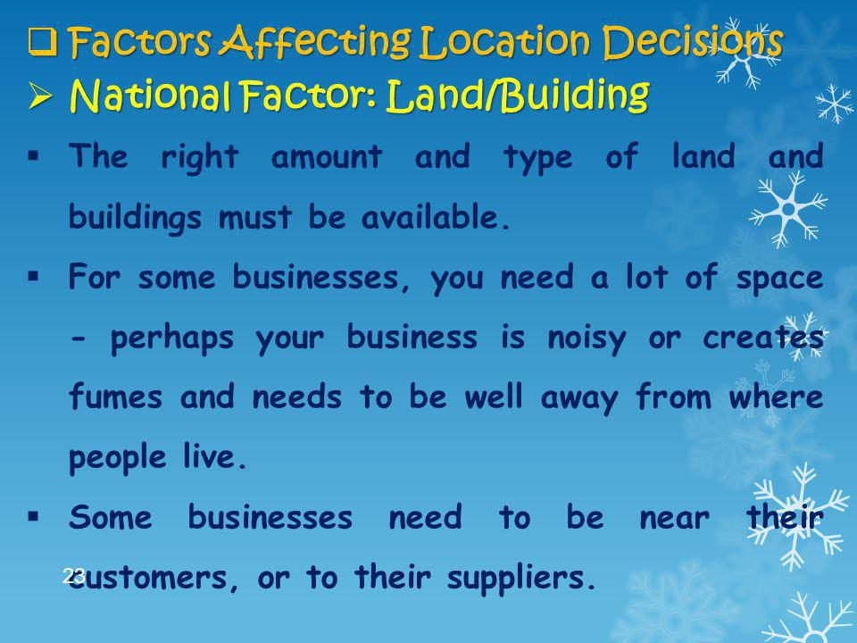 Factors Affecting Location Decisions National Factor: Land/Building