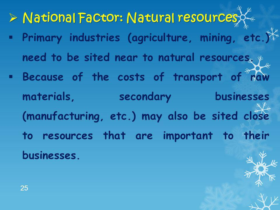 National Factor: Natural resources