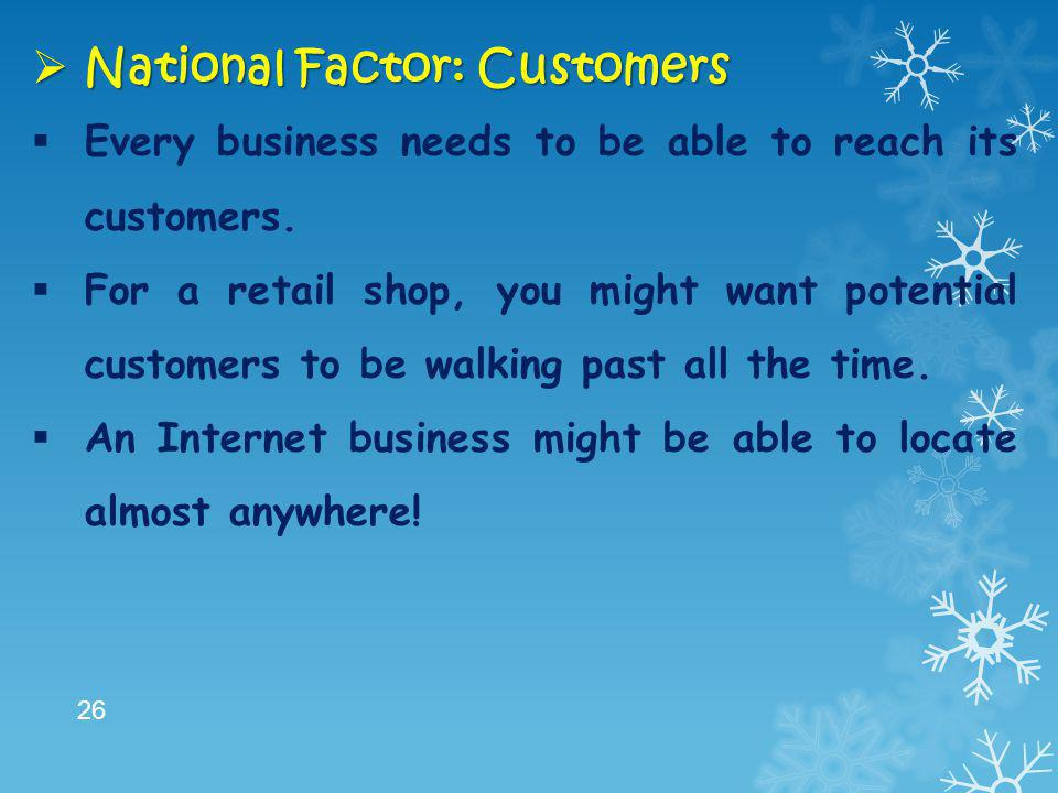 National Factor: Customers