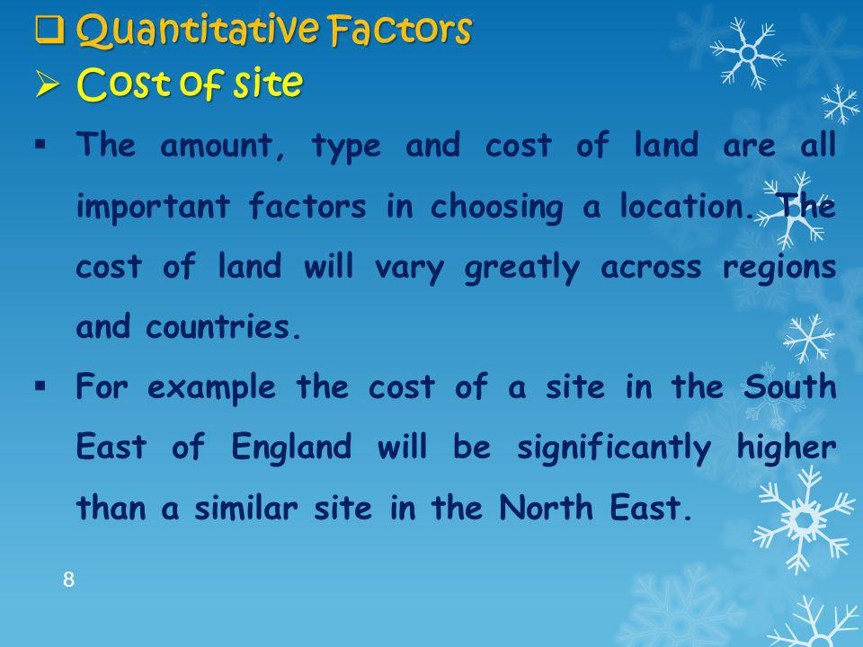 Quantitative Factors Cost of site