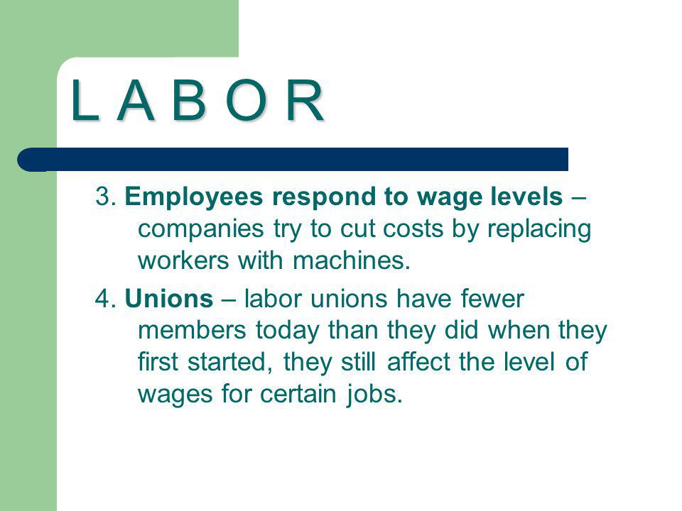 L A B O R 3. Employees respond to wage levels – companies try to cut costs by replacing workers with machines.