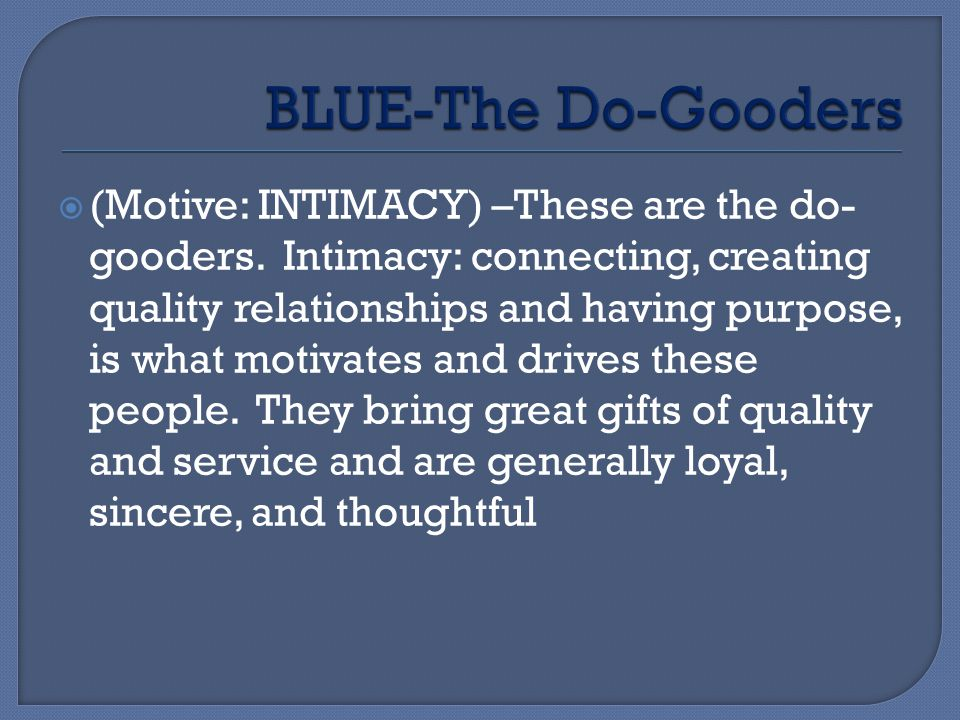 BLUE-The Do-Gooders