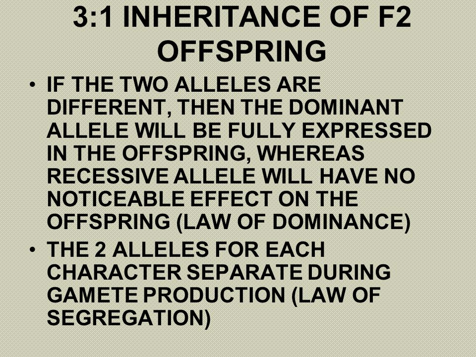 3:1 INHERITANCE OF F2 OFFSPRING