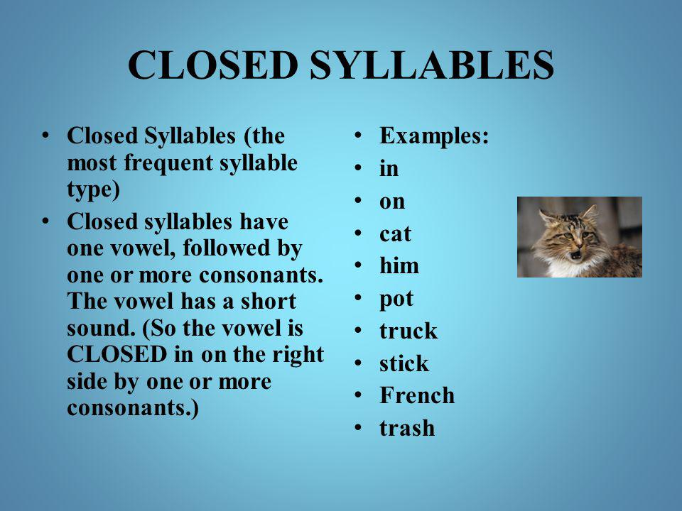 CLOSED SYLLABLES Closed Syllables (the most frequent syllable type)