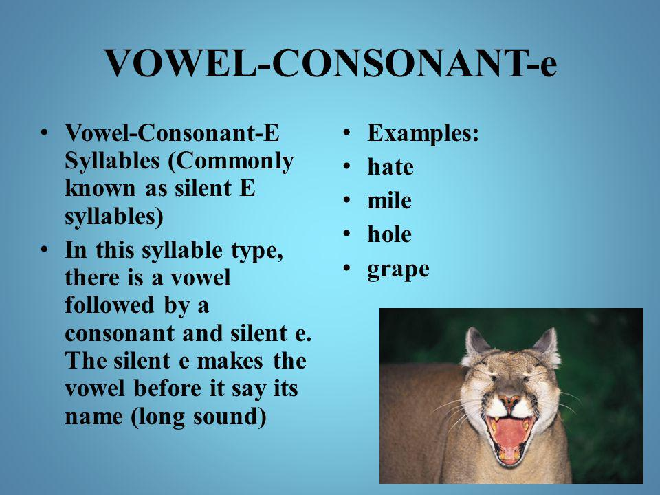 VOWEL-CONSONANT-e Vowel-Consonant-E Syllables (Commonly known as silent E syllables)