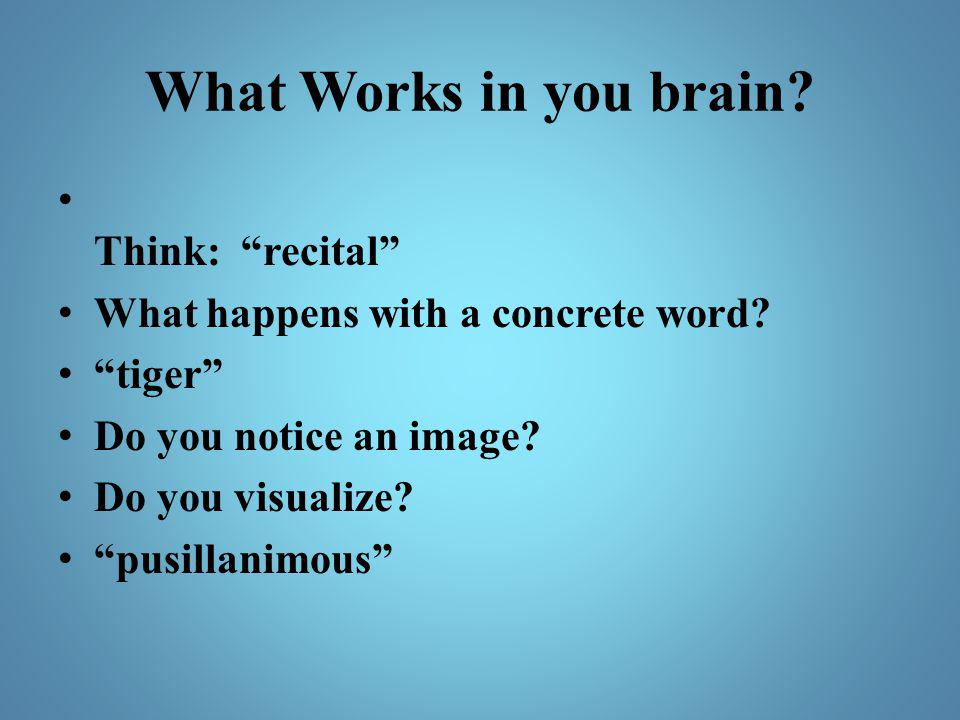 What Works in you brain Think: recital