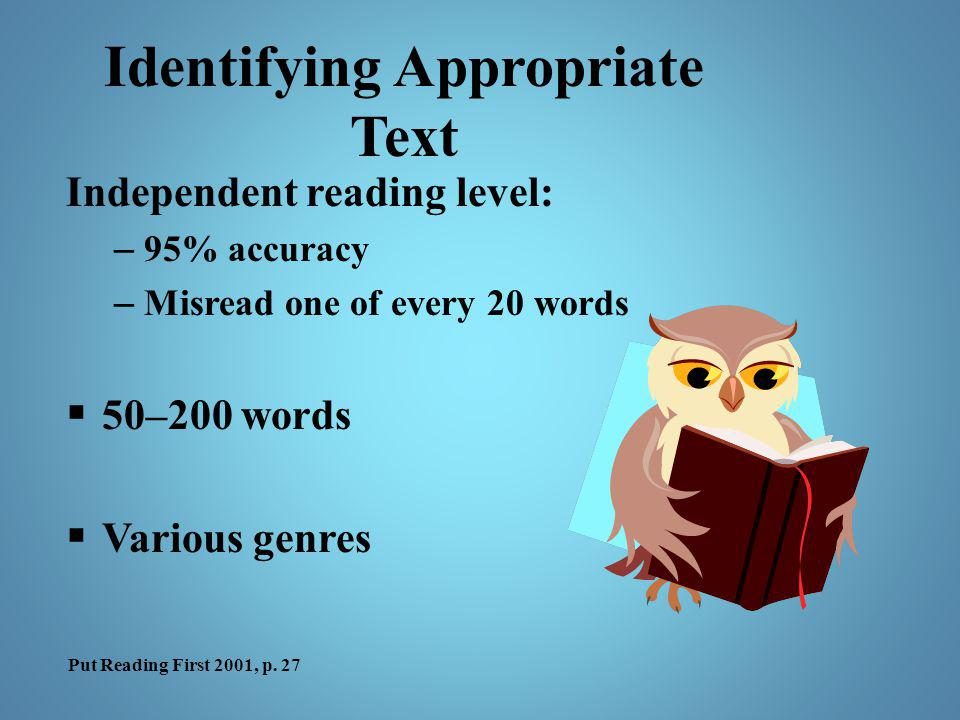Identifying Appropriate Text