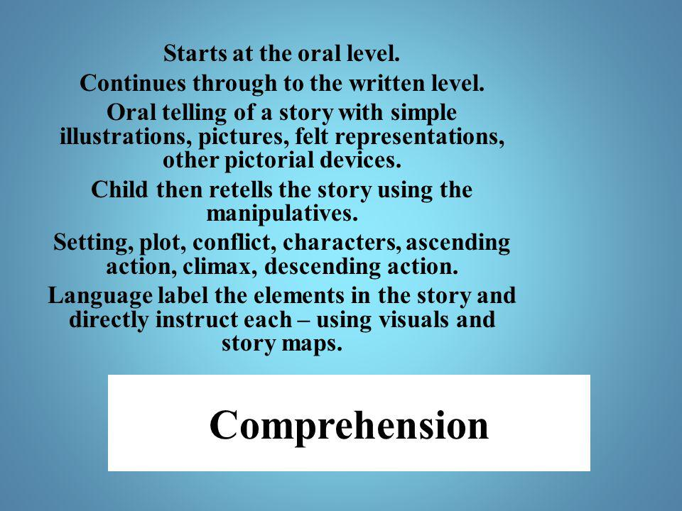 Comprehension Starts at the oral level.