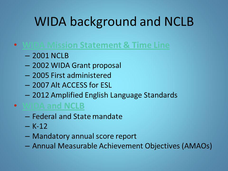 WIDA background and NCLB