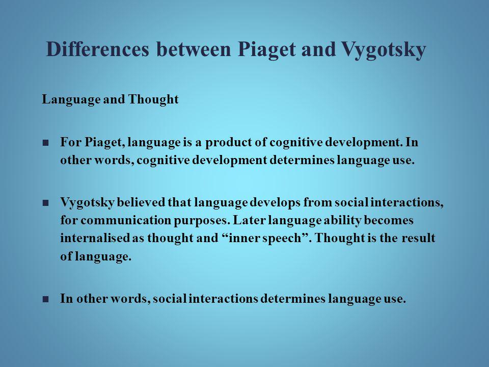 Differences between Piaget and Vygotsky