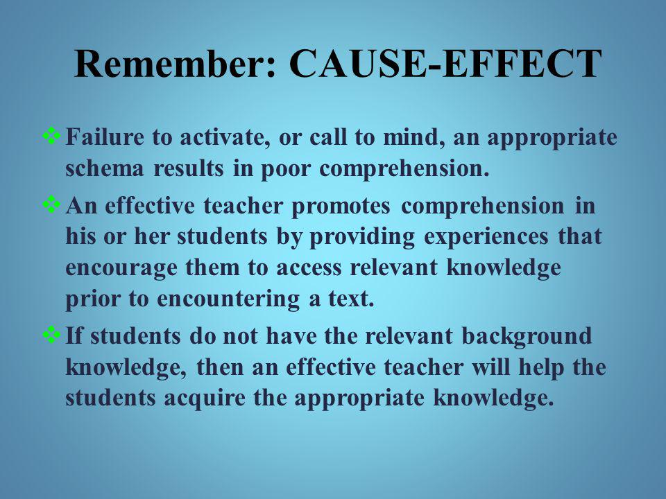Remember: CAUSE-EFFECT