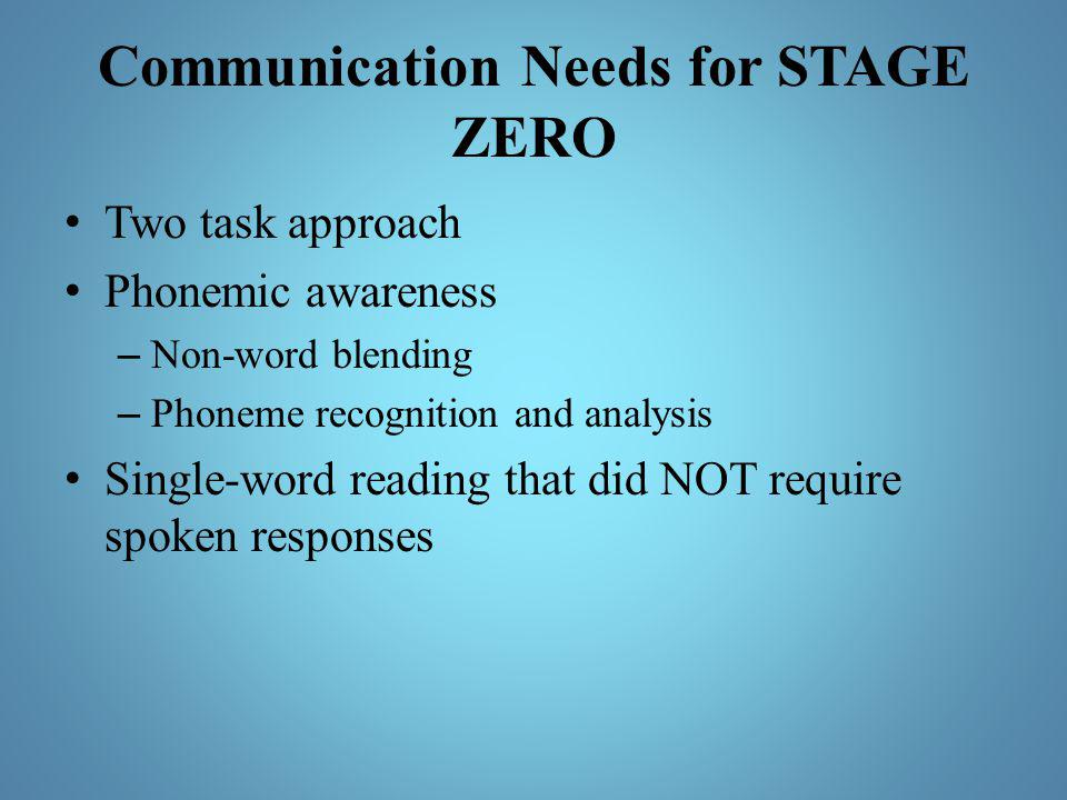 Communication Needs for STAGE ZERO