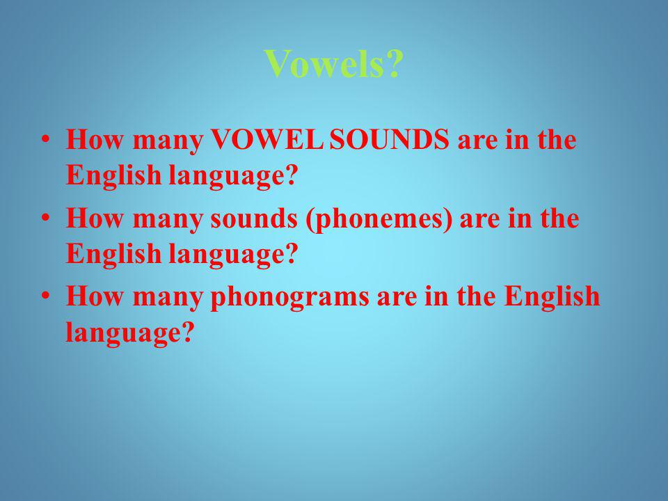 Vowels How many VOWEL SOUNDS are in the English language