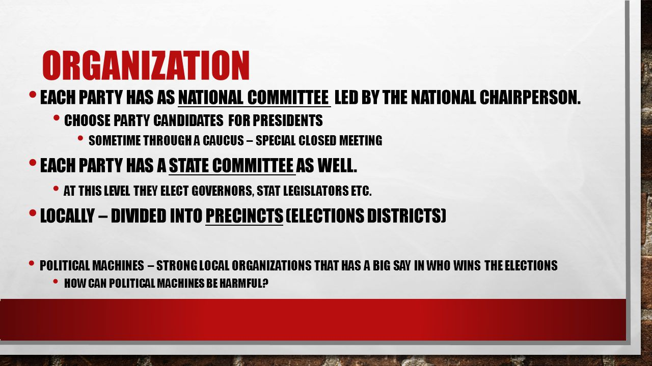 Organization Each party has as National committee led by the national chairperson. Choose party candidates for presidents.
