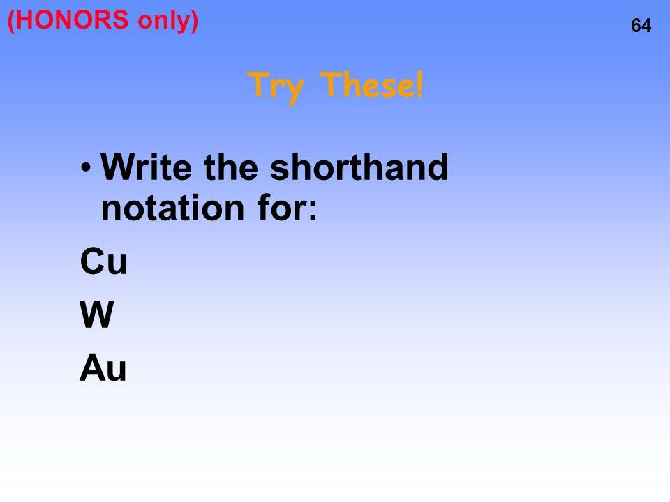 Write the shorthand notation for: Cu W Au