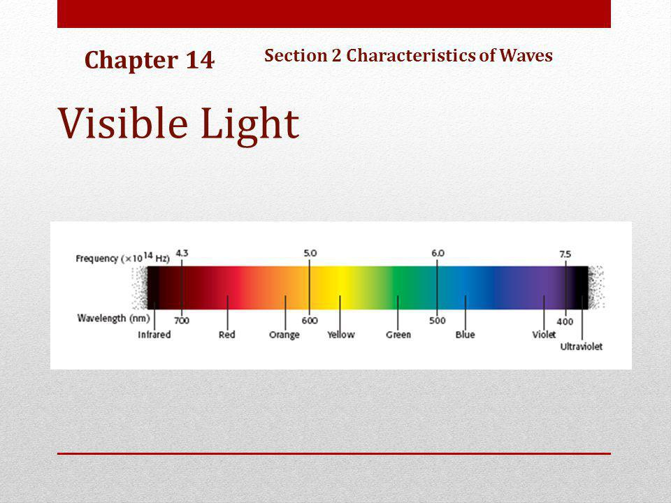 Chapter 14 Section 2 Characteristics of Waves Visible Light