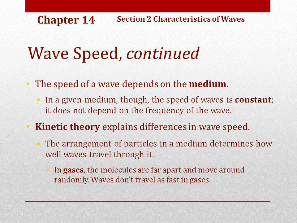 Wave Speed, continued Chapter 14